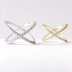 X Criss Cross CZ Pave Plated Ring